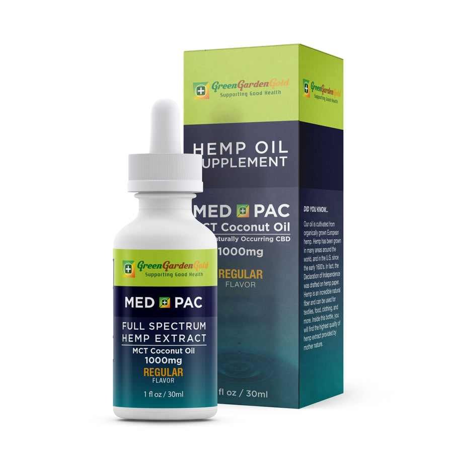 Green Garden Gold Med Pac Hemp CBD Tincture Regular 1000mg