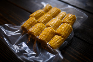 vacuum sealed corn in EcoVac chamber sealer bags
