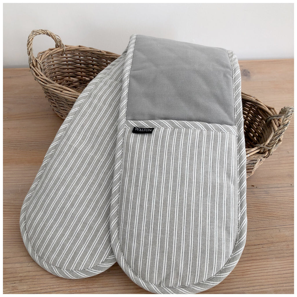 Grey Ticking Stripe Oven Glove