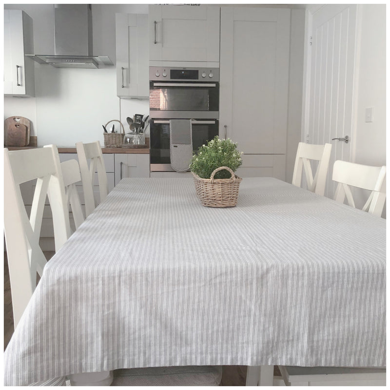 Grey Ticking Stripe Tablecloth
