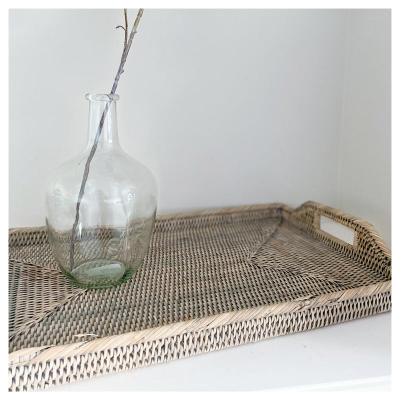 Large Grey Rattan Tray