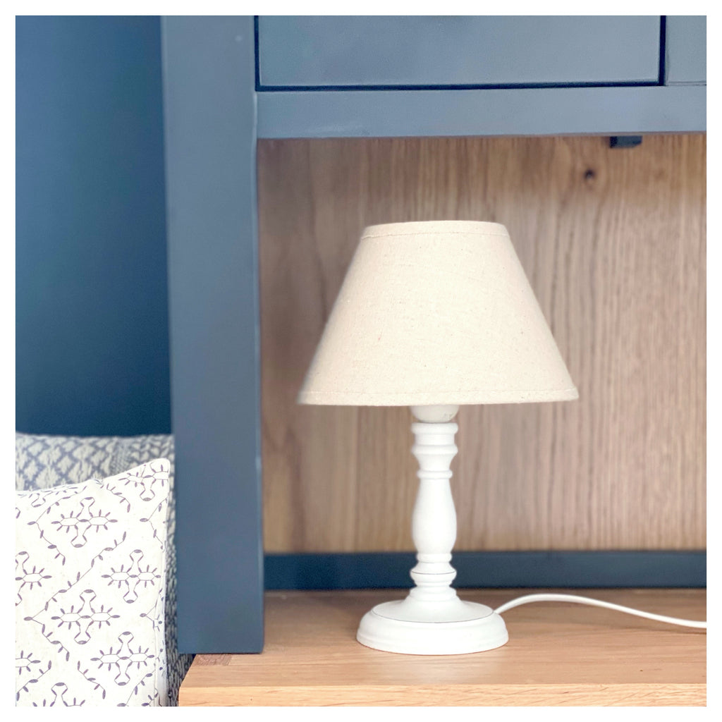 White Wooden Table Lamp
