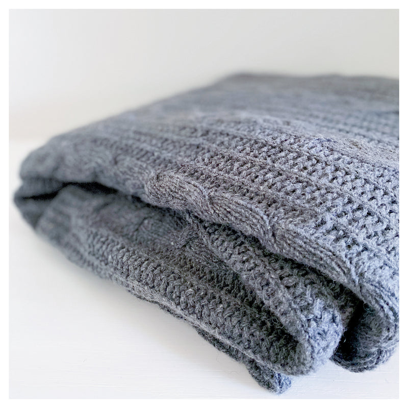 Wool Rich Cable Throw - Charcoal