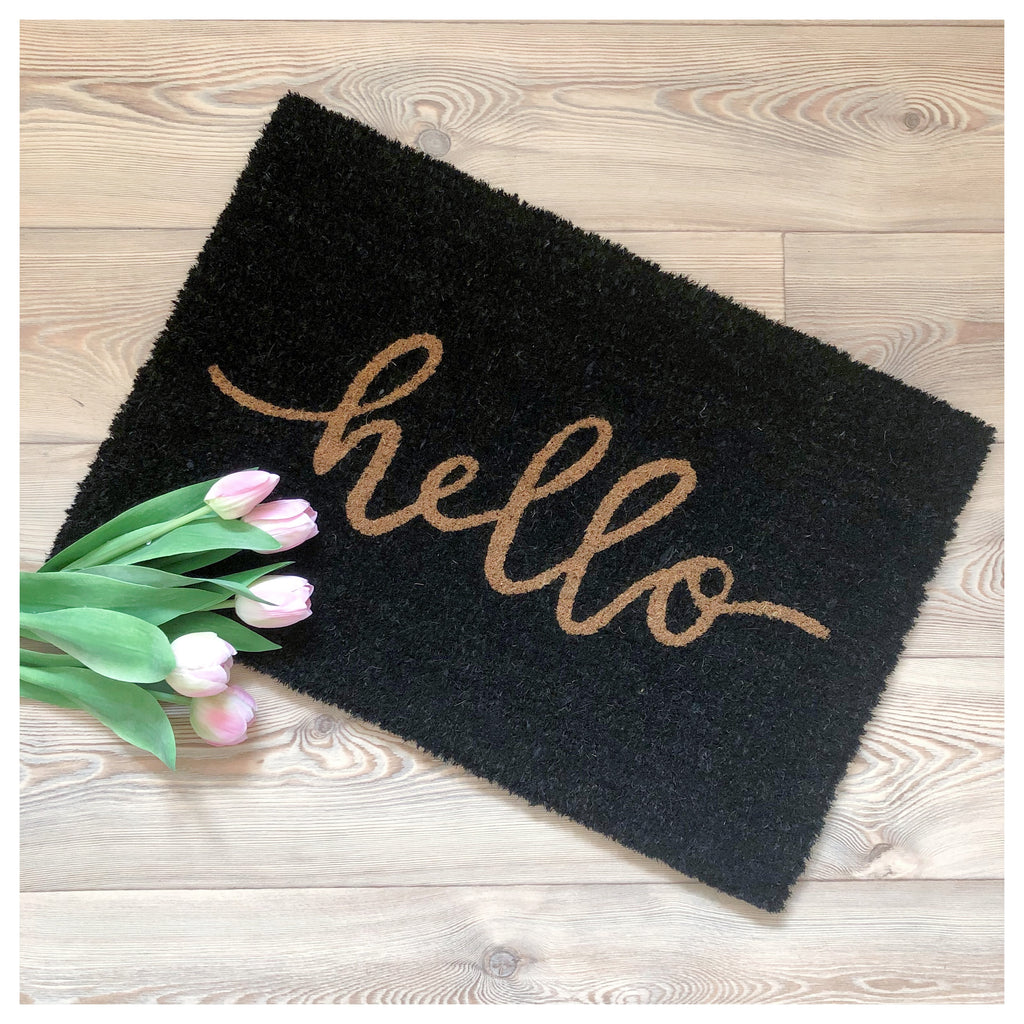 Black Hello Doormat