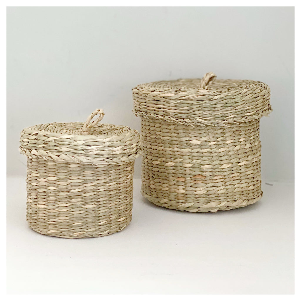 Set of Two Seagrass Lidded Baskets