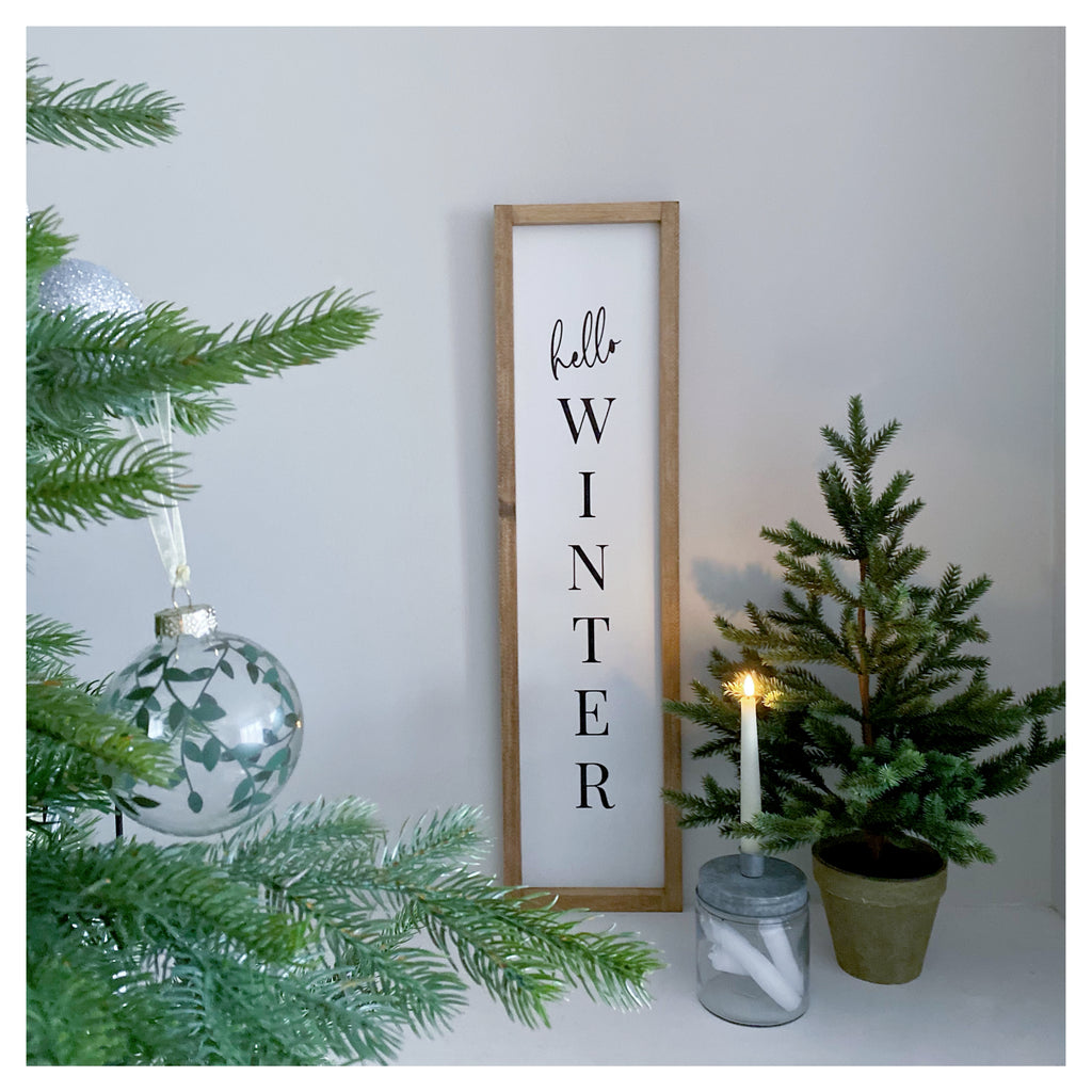 Hello Winter Farmhouse Sign