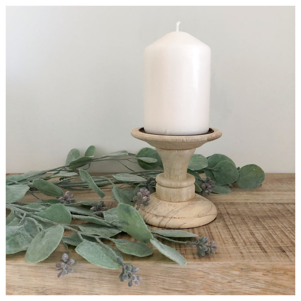 Natural Wood Candle Stick