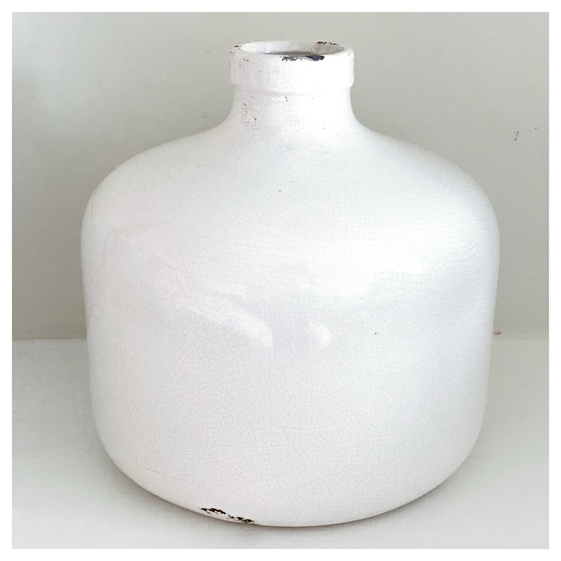 White Glaze Bottle Vase