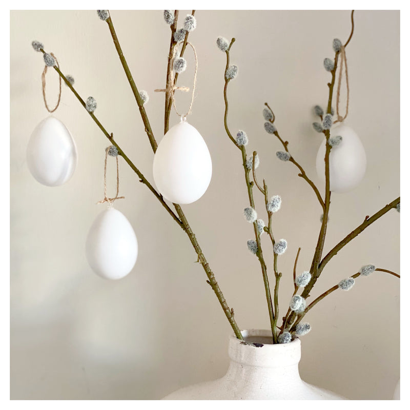 Set of Six White Hanging Eggs