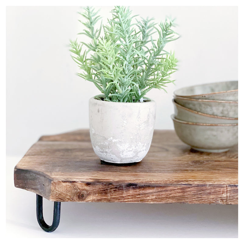 Faux Rosemary in Grey Pot