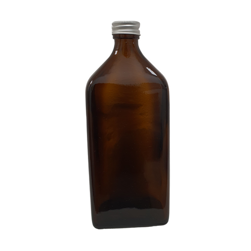 Amber Rectangular Glass Bottle (500ml) with Cap or Pump