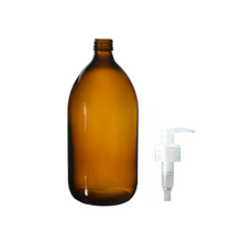Load image into Gallery viewer, Glass Bottle (1000ml) with Pump top - Amber & Clear
