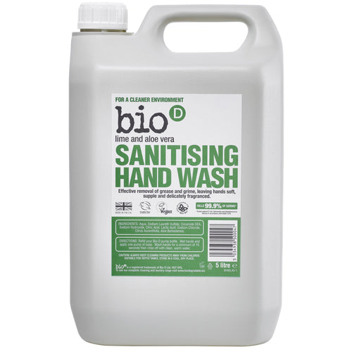 Sanitising Hand Wash (Lime & Aloe Vera) by Bio-D, the-cleaning-cabinet