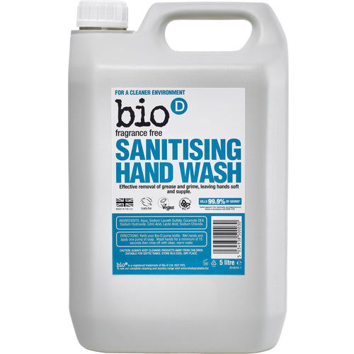 Sanitising Hand Wash (Fragrance Free) by Bio-D, the-cleaning-cabinet