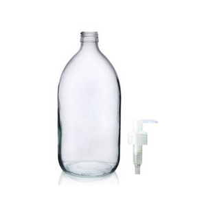 Glass Bottle (1000ml) with Pump top - Amber & Clear