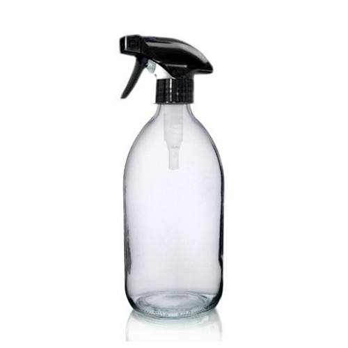 Clear Glass Bottle (500ml) with Trigger Spray