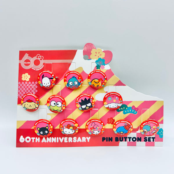 60th Sanrio Anniversary Pin Button 12 pcs Set