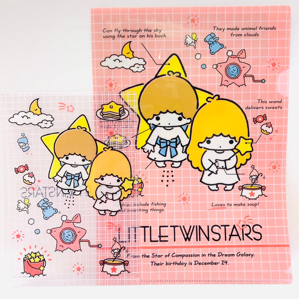 Little Twin Stars Clear File 2 Piece Set Pink
