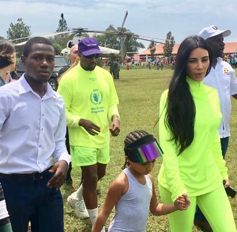 north west sun visor kim kardashian and kanye west in uganda