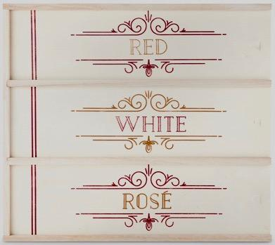 Red, White & Rose Wooden Wine Box