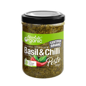 Basil & Chilli Pesto 190g (Bulk x6) Absolute Organic $6.79 each