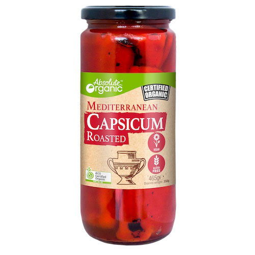 Capsicums Roasted 465g (Bulk x 6) Absolute Organic ACO $6.85 / Jar