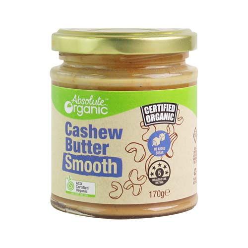 Cashew Butter Smooth 170g (Bulk x6) Absolute Organic ACO. Price $12.19 each