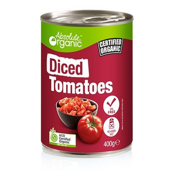 Organic Diced Tomatoes 400g (Bulk x12) Absolute Organic $2.02 each
