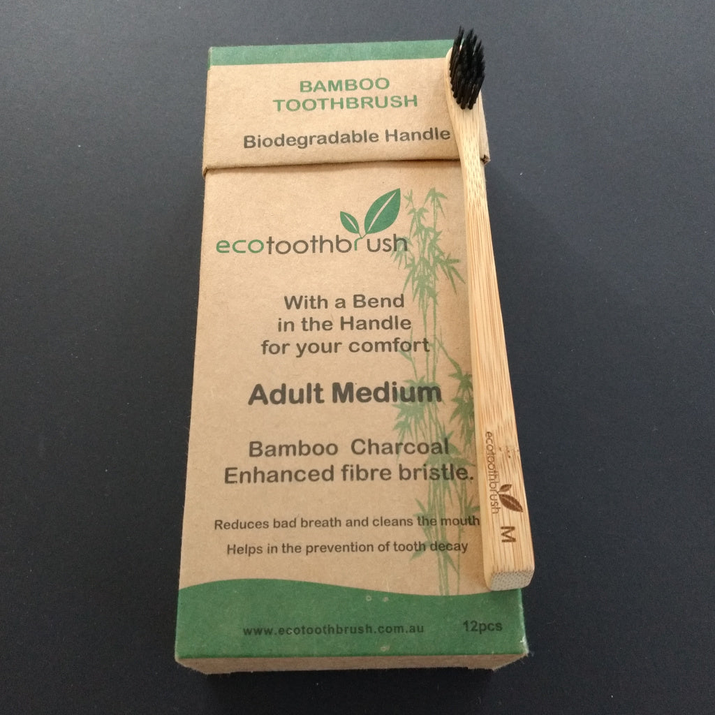 Eco Bamboo Charcoal Toothbrush Adult Medium- 12 pack