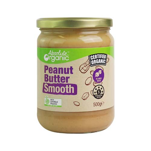 Organic Peanut Butter Smooth 500g (Bulk x6) Absolute Organic ACO. Sale Price $7.38 each