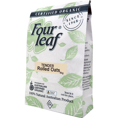Organic Rolled Oats Tender 4kg Four Leaf Milling ACO