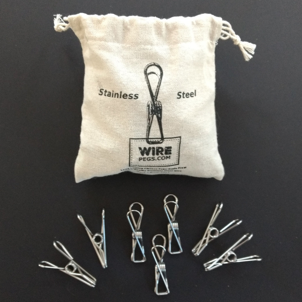 Stainless Steel Wire Pegs in Hemp bag