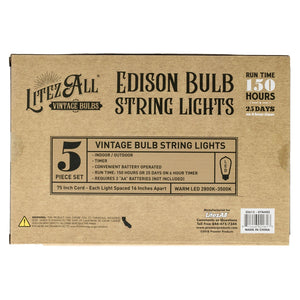 22613 - LA-MTLEDx5-6 LitezAll LED Edison Bulb 5 Piece Metal String Lights