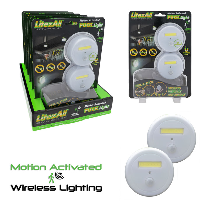 23054 - LA-SNSPKx2-6/24 LitezAll Motion Activated Puck Lights 2 Pack