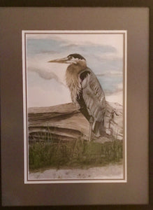 Heron on Log - Watercolour - [product_type - Marj Kettlewell - Aqua Terre Artisans