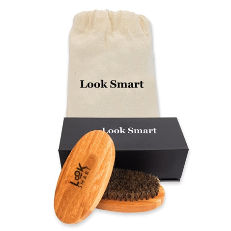 Look Smart-Boar Bristle Beard Brush for Men with Travel Bag & Perfect Gift Box