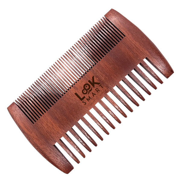 Look Smart-Gentleman FineTeeth Beard Moustache Grooming Handmade Sandalwood Comb