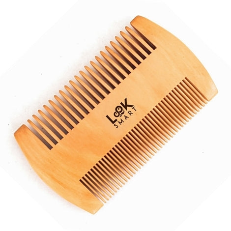 Look Smart-Gentleman FineTeeth Beard Moustache Grooming Handmade Pear Wood Comb