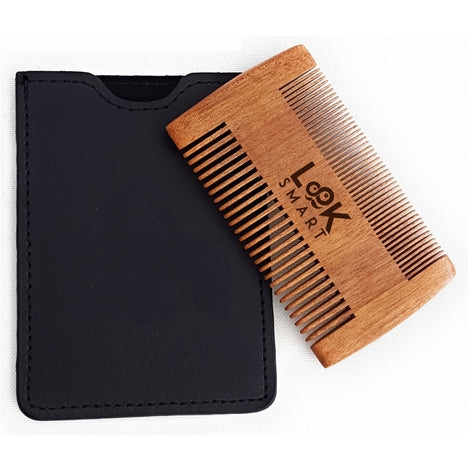 Look Smart-Double Sided Fine Teeth Beard Moustache Handmade Sandalwood Comb & Pouch