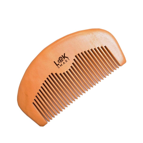 Look Smart - Mens Gentleman Beard Moustache Grooming Handmade Pearwood Half Moon Comb