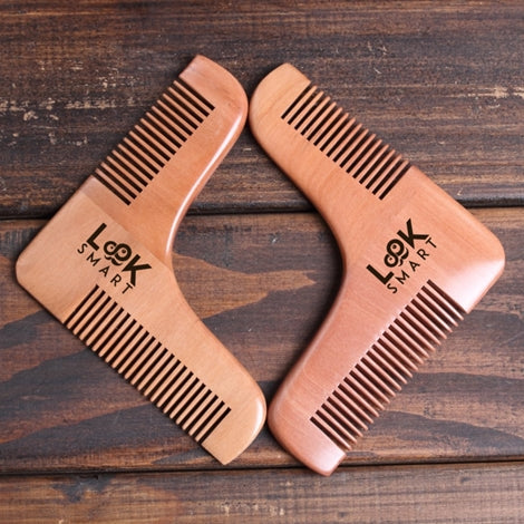 Look Smart-Men-Wooden Beard Shaping Template Comb Tool Beard For Perfect Line, Symmetry