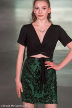 Forest Green Empire Sequin Pencil Skirt