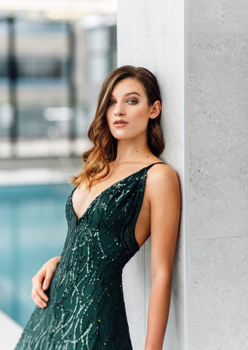 Hunter Green Evening Gown
