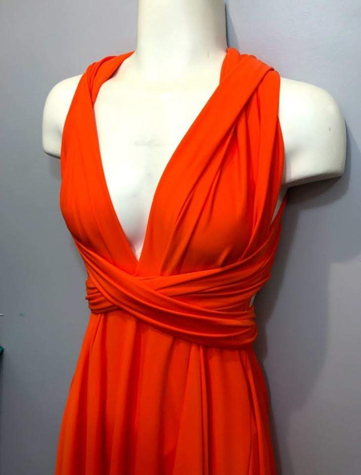 Orange Convertible dress/Custom Size/Maternity & Plus size included