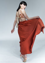 Duchess Satin Pleated Skirt : Burnt Orange