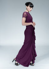 Merlot French Lace Ruffle Gown
