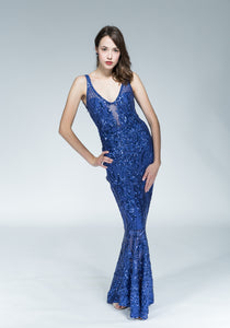 Blue Cabaret Sequins Gown