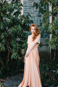 Soft Peach Convertible Dress/Custom Size, Length/Plus Size & Maternity Included