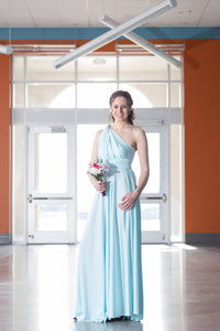 Baby Blue Convertible Dress/Custom size, length/Plus size & maternity included
