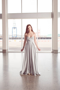 Silver Convertible Dress/Custom size, length/Maternity & plus size included